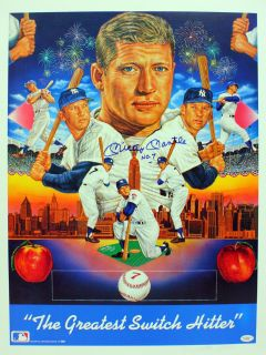Mickey Mantle Signed Autograph Yankees Lithograph JSA
