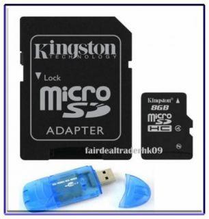 Kingston Micro SD SDHC 8GB 8g Memory Card Adapter Reader