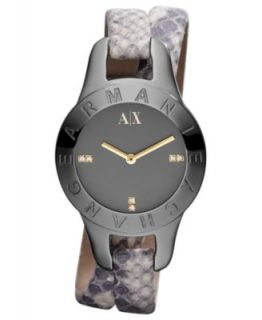 Armani Exchange Watch, Womens Gray Python Stamped Leather Double