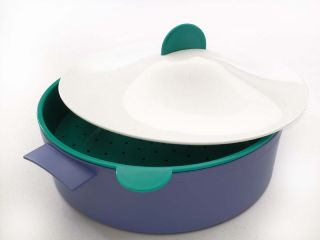Tupperware Microwave Steamer w Colander Lid—Blue Green White—RARE