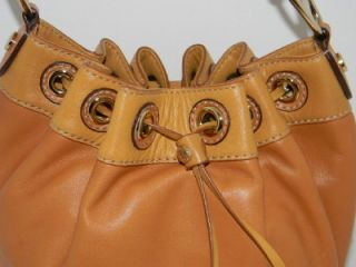 Michael Kors Medium 2 Tone Tan Leather Hobo Purse Handbag Drawstring
