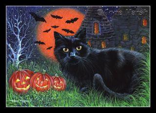 Black Cat Halloween Midnight Print Painting Anne Marsh