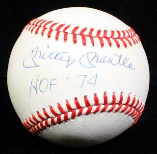 Mickey Mantle Signed Autographed HOF 74 Baseball Ball JSA B14786