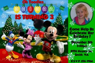 Mickey Mouse Christmas Birthday Party Invitations Custom Photo Invites