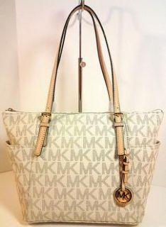 New 2012 AuthMichael Kors E w Top Zip MK Logo PVC Tote Vanilla Tan