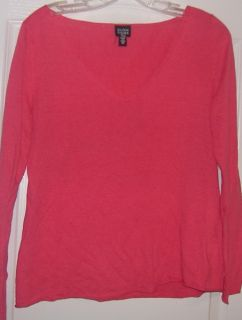 Eileen Fisher Pink Linen Cotton Slub Fine Knit Top XS