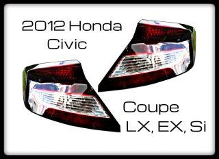 2012 Honda Civic Smoked Tail Lights Pair LX EX SI 12 Non LED 9th Gen