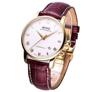 Mido Baroncelli Men Mechanical Automatic Swiss Watch White Gold