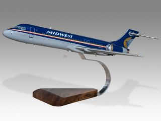 Boeing 717 Midwest Airlines Wood Desktop Airplane Model
