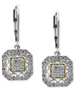 14k Gold and Sterling Silver Earrings, Diamond Leverback Earrings (1