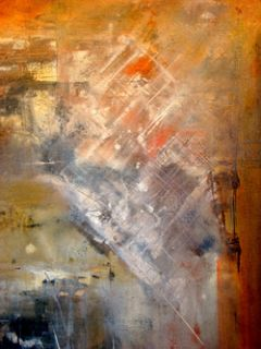 Huge 49x49 Vintage Abstract Fantasy Mid Century Modern Eames Oil