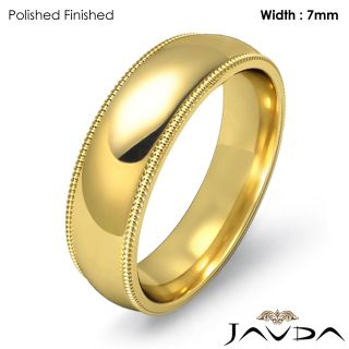 10 2G 8z Men Wedding Band Ring Dome Milgrain 7mm Gold Y 18K Solid