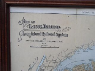 Antique Map Long Island Railroad Montauk Steamboat 1904