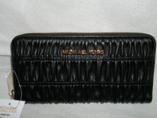 Michael Kors Webster Z A Ruched Leather Continental Wallet Clutch