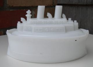 Antique USS Maine Battleship Milk Glass Covered 9 1 2 2 PC Dish C