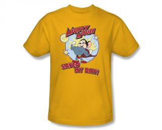 Mighty Mouse Saved My Day Classic Retro Cartoon T Shirt Tee