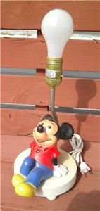 DISNEY MICKEY MOUSE SITTING TABLE LAMP NIGHT LIGHT + SHADE HOME DECOR