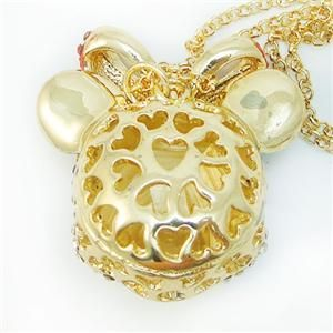 Mickey Mouse Bow Pendant Necklace Rhinestone Crystal Disney Animal