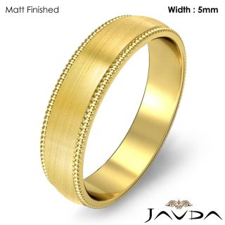 9g 8z Men Wedding Band Ring Dome Milgrain 5mm Gold Y 18K Solid Plain
