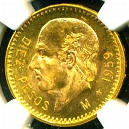1959 M MEXICO HIDALGO GOLD COIN 10 PESOS * NGC CERT GENUINE MS 64