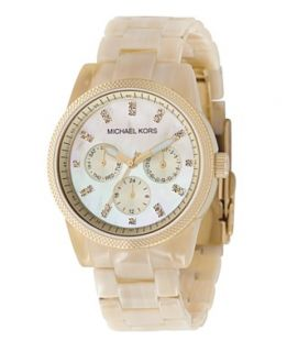 Michael Kors Watch, Womens Chronograph Ritz Resin Horn Bracelet 36mm