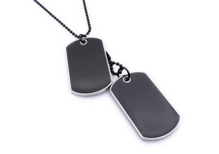 Army Style Cool Black 2 Dog Tag Beauty Mens Pendant Necklace P488