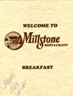 Millstone Restaurant Breakfast Menu 1987