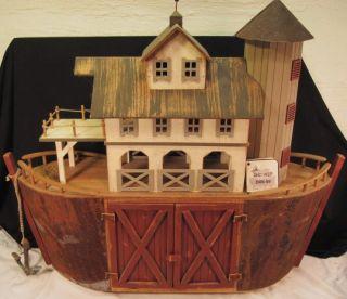Millwood Toy Co Noahs Ark Carved Wood Folk Art Barn