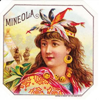 Mineola Outer Cigar Label Antique Lithograph American Indian Maiden