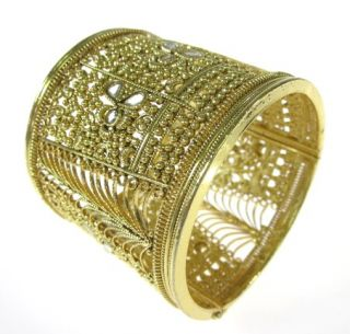 Tejani Gold Tone Filigree Crystal Wide Bangle Bracelet