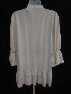 Millard Fillmore Cream Silk Ruffle Tunic Top Shirt Sz L