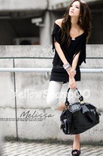 New Wide Neck Sexy Mini Dress Black L XL