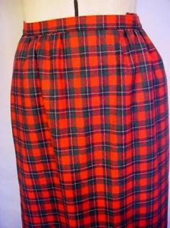 Lovely Pendletown Tartan Plaid Wool Maxi Skirt W28