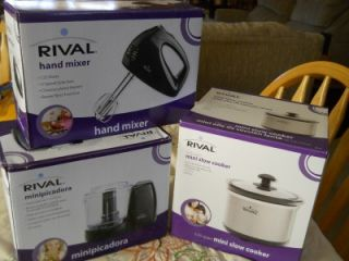 Rival Mini Slow Cooker Mini Chopper and Hand Mixer Brand New in Box