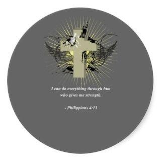 PHILIPPIANS 413 Bible Verse Round Stickers