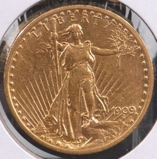 1909 8 $20 Gold Saint Gaudens Double Eagle About Uncirculated Details