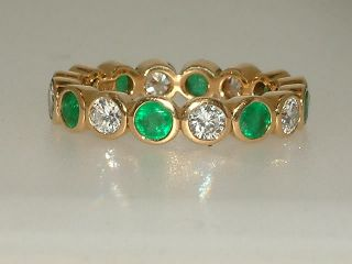 18ct Gold Full Emerald Diamond Eternity Ring