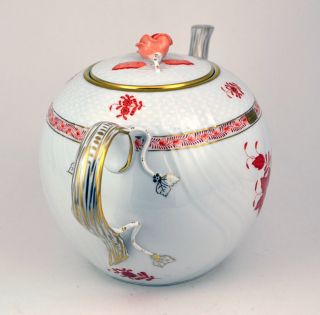 Herend Gold Guilt Autumn Leaves Tea Pot Great Condition 6 75 High