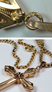 18K Gold Cross Box Chain Necklace 8 0 grams France Eagle Hallmark 1920