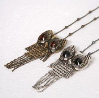Lovely Cute Rhinestone Owl Tassels Pendant Necklace Gold