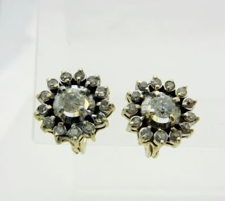 Estate 14k Yellow Gold Cluster 0 82ctw Diamonds Earrings French Lever