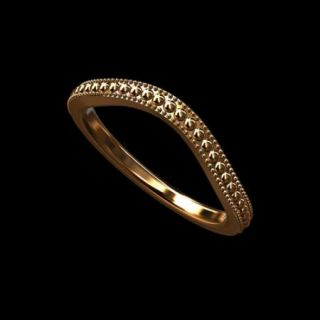 Solid 14k Pink Gold Curved Milgrain Wedding Band Ring