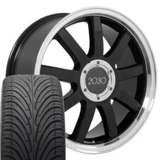 18 RS4 Style Deep Dish Wheels Rims Tires Black Fits Audi A3 A4 A6