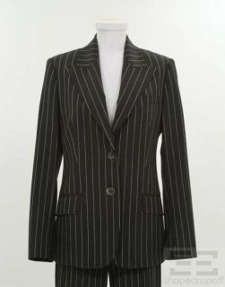 Michael Kors Black White Wool Pinstripe Jacket Pant Suit Size 8 6