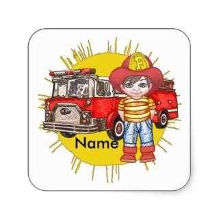 Little Firefighter Name Square Stickers