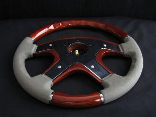 New 14 Gray Leather Wood Grain Steering Wheel
