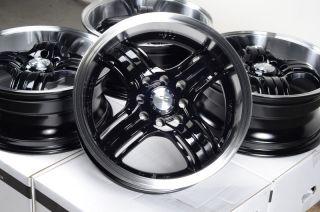 15 4x100 4x114 3 Matte Black Rims Honda Low Offset MR2 Civic Lancer 4