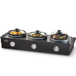 Slow Cooker Food Warmer Buffet Server 3 Station Serving Tray, NEW TSC