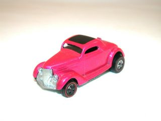 Vintage Redline Hot Wheels 1968 Classic 36 Ford Coupe Pink Diecast Car
