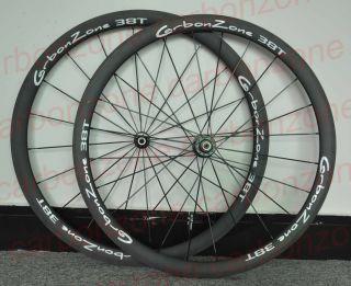 Tubular 38mm matt rims+white logo& 700C carbon wheelset&Bicycle carbon